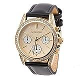 David Lenox Gold Tone Damen Uhr mit Lederband schwarz Michael Kors Style dl0224