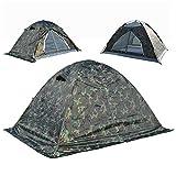 RFVBNM Camp d'entraînement militaire fermeture éclair camouflage 2-3 personnes double neige jupe tente latérale saison pluvieuse pluie tropicale pour prévenir l'orage