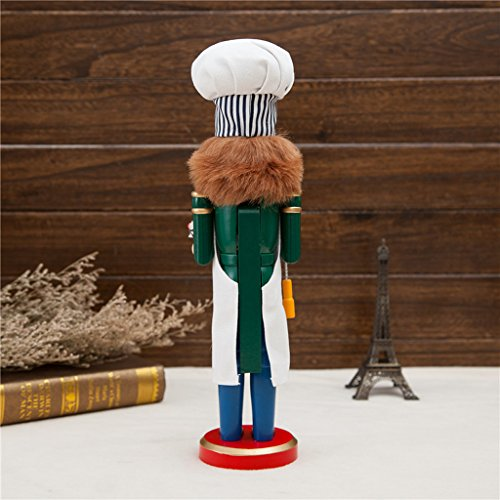 Phenovo 14 inch Wooden Nutcracker Chef Cook Figurine Statue Toy Kid Chirstmas Gift Home Desktop Decoration Accessories