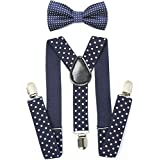 Child Kids Suspenders Bowtie Set - Adjustable Length 1 Inches Suspender With Bow Tie Set For Boys And Girls By AWAYTR (Navy Blue Polka Dot)