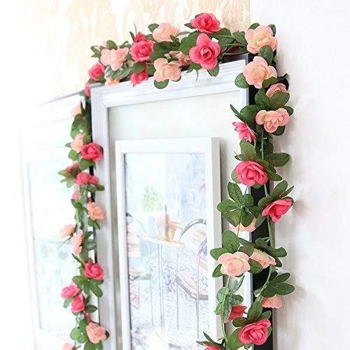 Meiliy 2confezione da 2,5m falso rosa vite fiori piante artificiali fiore home hotel office wedding party garden craft art decor pink