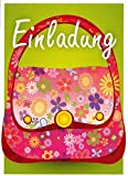 Einladungskarten Kindergeburtstag Kinder Mädchen und Junge mit Innentext Motiv Tasche 8 Karten im Postkartenformat DIN A6 mit Umschlägen Einladung Geburtstag Kinder (K09)
