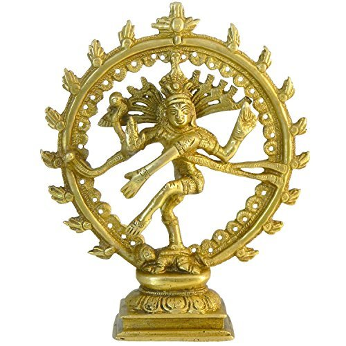 Zap Impex ® Natraj Messing Figur 17cm Natraj Statue des Tanzes Shiva Hinduismus Indische Gottheit