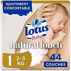 Lotus Baby Natural Touch - Couche Taille 1 (2-5 kg/Nouveau-Né) 1 paquet de 44 couches