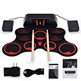 Jackeylove Professionelle Drum Electronic Roll up Drum Pad, Portable 9 Pads Bausätze Folable Practice Instrument in Speaker mit Foot Pedals und Trommelsticks