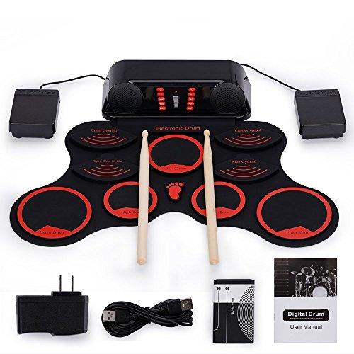 W&Z E-Drum Set, beweglicher Roll Up Drum Set Eingebauter Lautsprecher, nachladbare elektrische Drums mit Fußpedale Drumsticks
