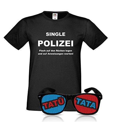Kostüm Nerd Arbeit Für - drucksda Polizist Verkleidung Officer Police Brille Nerd schwarz mit Shirt Polizei Kostüm Polizist Uniform Verkleidung Kostüm Polizist Brille und Shirt (Medium)