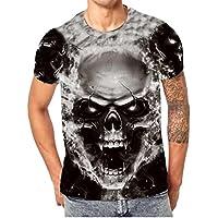 Routinfly Männer Kurzarm-Tops, männlichen Schädel 3D Print Shirt Bluse (Schwarz, L) preisvergleich bei billige-tabletten.eu