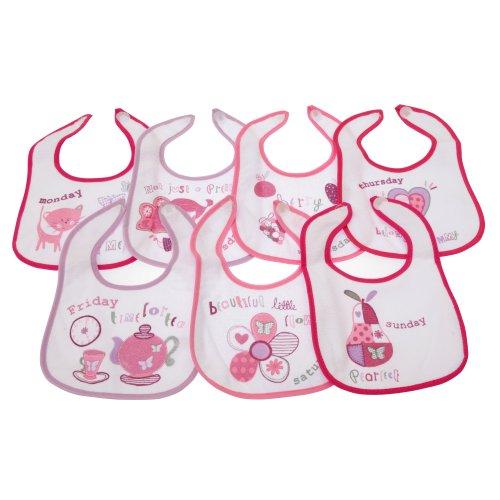 Baby 7 Wochentage Lätzchen für Jungen und Mädchen (7 Stück) (Newborn) (Pink)