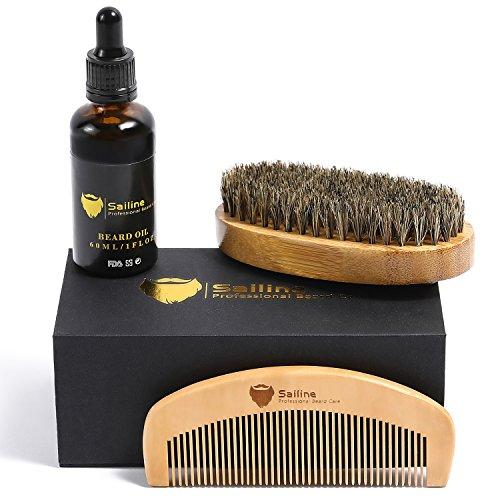SAILINE 2018 NEW Beard Grooming & Trimming Kit for Men Care Beard Brush Beard Comb X2 Beard Oil Conditioner Mustache Beard Balm Butter Wax Barber Scissors Styling Travel Gift Set Portable bag (3 in 1)