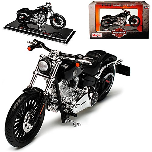 Unbekannt HarIey Davdson 2016 Breakout Schwarz 1/18 Maisto Modell Motorrad Auto mit individiuellem Wunschkennzeichen Harley Davidson Motorrad