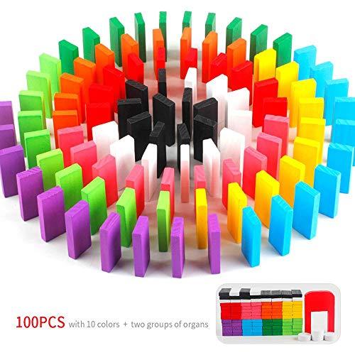Tawcal Domino Blöcke Set, Bunt Hölzern Domino Block Kit Rennspielzeug Spiel Bauen und Stapeln Spielzeuge Pädagogisches Spiel Dominos 10 Grundfarben für Kind Junge Mädchen 100 Stück (Domino-spiel Kit)