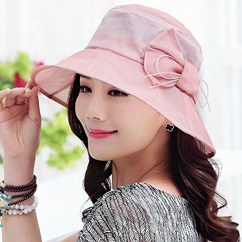 Mützen XIAOYAN Silk Sun Schutzkappe Sommer zusammenklappbar Frauen Casual Visor Outdoor Strand Hut Anti-UV lila rosa gelb blau (Farbe : Pink)