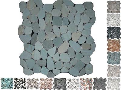 1 Netz Flusssteine gesägt Gruen Riverstones von Mosaikdiscount24 - TapetenShop