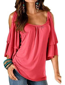 Mujeres Blusa Tops Camisa Verano Cuello Redondo fuera del Hombro Camiseta de Manga Corta