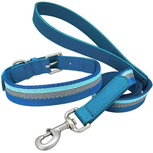 GOUSHENG-Leash Reflektierendes Hundehalsband Und Leinen-Set Verstellbare Hundehalsbänder Aus Leder Designer Puppy Strip Leads Rope Für Kleine, Mittelgroße Hunde, Blau, L -
