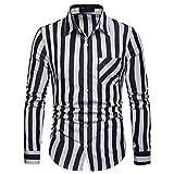Freizeithemd Herren Slim Fit Sannysis Männer Gestreiftes Hemd Business Shirt Langarm Hemden Freizeit Hochzeit Arbeit Formelles Hemd-Hochwertige Baumwolle