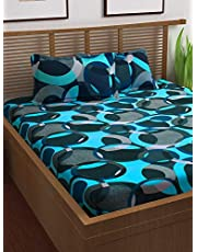 Story@Home 120 TC 100% Cotton Prism Collection Elegant Abstract Pattern 1 Double Bedsheet with 2 Pillow Cover - Blue