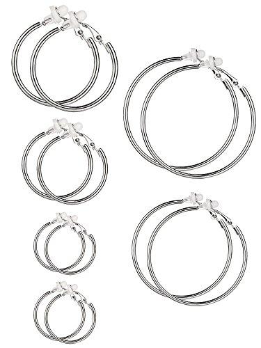 6 Paar Hoop Ohrringe Clip On Ohrringe nicht Piercing Ohrringe Set für Damen und Mädchen, 6 Größen (Silberfarbe)
