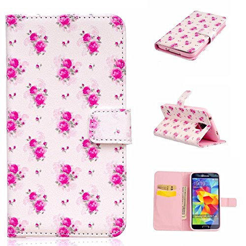 TKSHOP Custodia portafoglio in PU pelle per Samsung Galaxy S5 Funzione di Sostegno Stand con la Copertura del Raccoglitore per la Carte Chiusura Magnetica Shock-Absorption + Penne Capacitive Stylus penna Rosso per dispositivi touchscreen - Rose viola