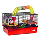 CTC-Trade | Hamsterkäfige Rot Außenmaße 49x32,5x44 Mäusekäfig Nager Hamster Plastik Kleintier Käfig mit Zubehör