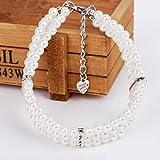 LA VIE Drei Reihen Perlen Hundehalsband Schöne Perlenkette Katzenhalsband Verstellbare Haustier Halsband für Kleine Mittlere Große Hunde Katzen Welpen Weiß L