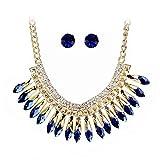 MingXinJia High-End-Atmosphärische Kristall Halskette Ohrringe Zweiteilige Anzug Brautkleid mit Schmuck-Set, Blau
