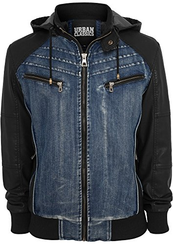 TB675 Hooded Denim Leather Jacket Herren Jacke Jeans Kapuze