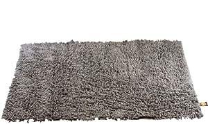 Gözze, tapis à poils longs, antracite, 60x100 cm, 100% coton, excellente qualité, 1 800 g/m², Oeko-Tex Standard 100