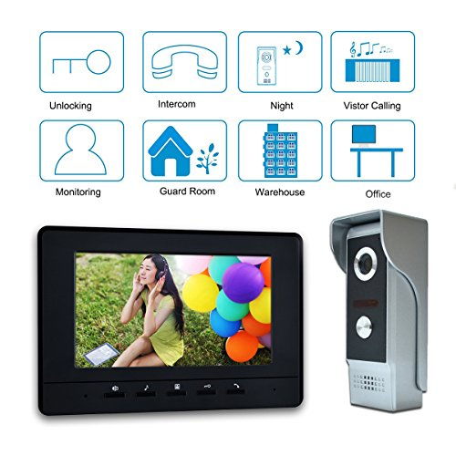 "AMOCAM Video Doorbell Phone, 7"" Video Intercom Monitor Doorphone System, Wired Video Door Phone HD Camera kits Support Unlock, Monitoring, Dual-way Intercom for Villa House Office Apartment"