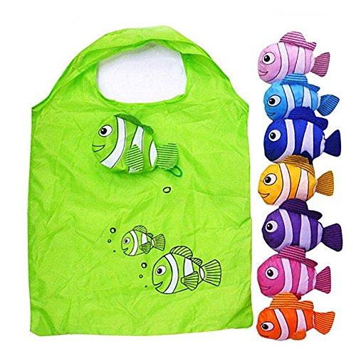 Naisidier Fisch-Shopping-Tasche Faltbare Tasche Bunte Wiederverwendbare Eco-Taschen Handle Taschen mit Schulter Tote 2 Stück zufällige Farbe -