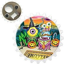 Halloween Trick ou traiter les monstres sur tapis Décapsuleur aimant pour réfrigérateur