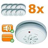 8er Set Hitzemelder, 85dB, reagiert bei zu hoher Temperatur, 24h Schutz, kabellose Montage