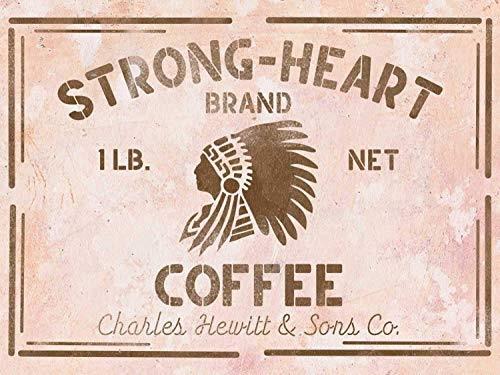 Amerikanische Vintage Kaffee Schablone Strong-Heart (Amerikanischen Farben)