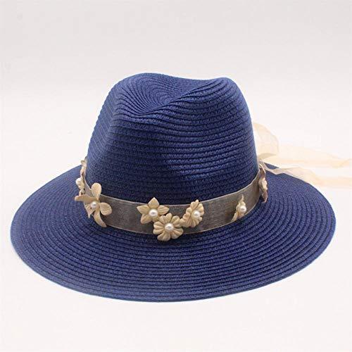 Floral Straw Hat (Qunimeide Hüte Navy hat Frauen Straw Cap Floral Pearl Sonnenhut Elegante Lady Sonnenblende Cap Wide Brim Gangster Beach Hats 56-58cm)