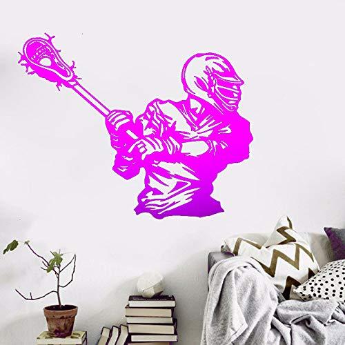 zqyjhkou Sport Thema Wandtattoos Lacrosse Player Aufkleber für Wohnzimmer Eingang und Clubs mit umweltfreundlichen abnehmbaren selbstklebenden 4 61x77cm