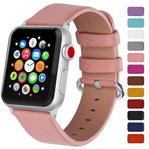 Fullmosa Klassische Litichi Leder Watch Armband Kompatibel für Apple Watch Series 5/4/3/2/1, 12 Farben iWatch Armband geeignet für Männer und Frauen mit Edelstahlschliesse 38mm, Rosa