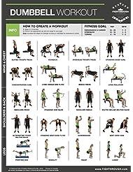 Mancuernas ejercicios Poster PLASTIFICADO gráfico–entrenamiento de fuerza–Core–Pecho–Patas–, hombros y espalda–Construir Músculo, tono Apriete–45,72cm x 60,96cm