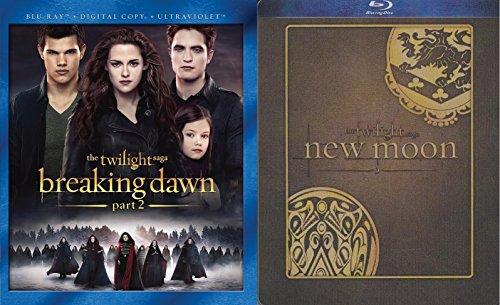 Twilight 2 Movie Blu-ray Bundle - New Moon (Steelbook) & Breaking Dawn Part 2 (Blu-ray/DVD/UltraViolet)