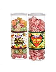 JUSTONE Fruit Hearts and Meetha Paan Candy, 460 g