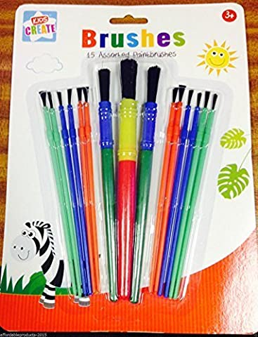 Kids Create 15 Assorted Paint Brush Set / Brushes by Kids Create