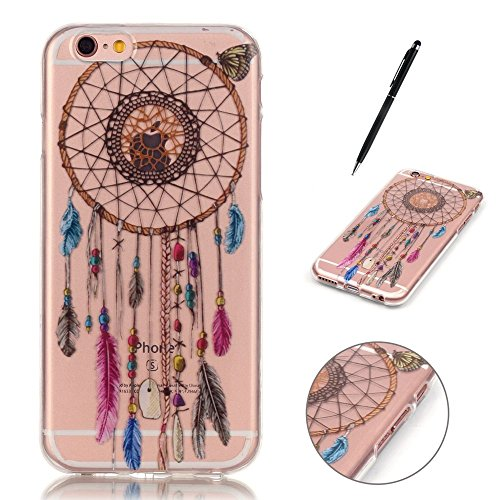Custodia per iPhone 6 Plus / iPhone 6S Plus, Hancda Morbido TPU Cover Silicone Flessibile Trasparente Custodia con Disegni Colorate Protettiva Case Ultra Sottile Gomma Morbida Caso Cover per iPhone 6  Dreamcatcher