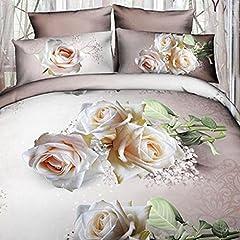 Idea Regalo - TrAdE shop Traesio Completo Letto 3D Lenzuola Matrimoniale sotto sopra COPRICUSCINI Rose Bianche