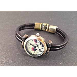 Uhr Bronze Schwarz Mohnblume