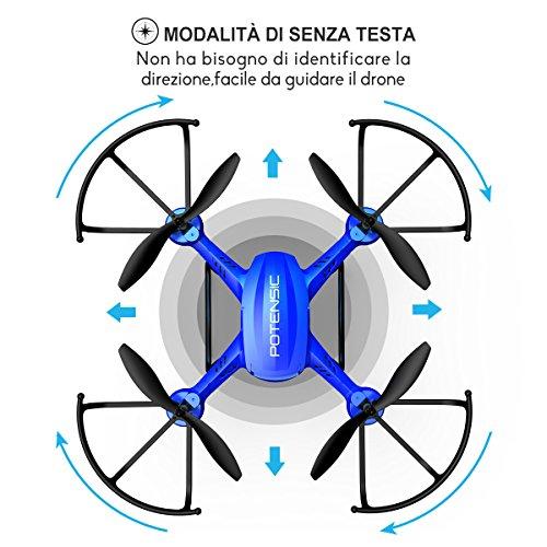 Potensic Drone con Fotocamera 720P HD Drone F181DH FPV LCD Monitore a Schermo con Funzione di Sospensione Altitudine, modalità Senza Testa, Allarme di Fuori Portata - 7