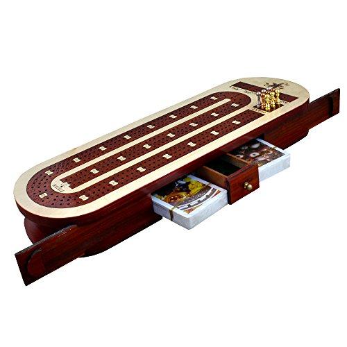 3 Track Cribbage Board Kartenspiel Set mit 12 Metall Pegs, 2 Decks Karten, 9 Metall Pegs mit Storage (Board-3-track Cribbage)