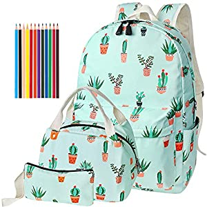 FEWOFJ Mochila Escolar Chicas Lona Vintage Backpack Canvas Casual + Bolsa del Almuerzo + Monedero Grande 3pcs (Cactus Verde)