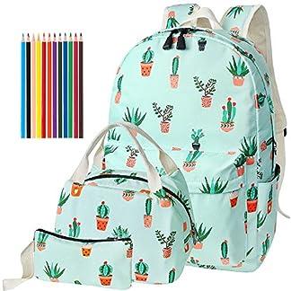 FEWOFJ Mochila Escolar Chicas Lona Vintage Backpack Canvas Casual + Bolsa del Almuerzo + Monedero Grande 3pcs