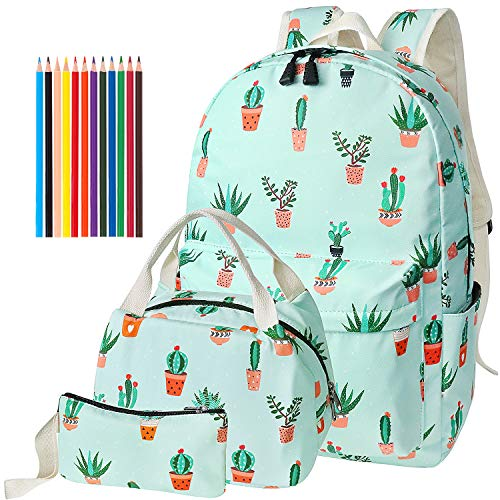 FEWOFJ Mochila Escolar Chicas Lona Vintage Backpack Canvas Casual + Bolsa del Almuerzo + Monedero Grande...