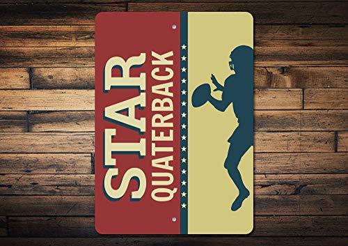 C-US-lmf379581 Quarterback Sign Quarterback Gift Football Star Sign Football Star Gift Quarterback Decor Football Player Gift Quality Metal - Star Street Sign